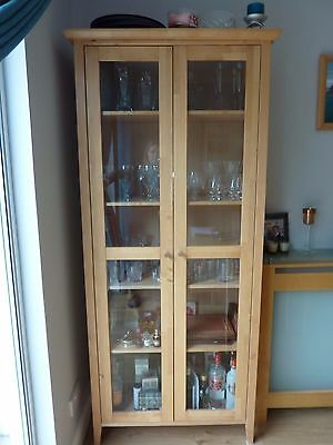 Solid Birch Wood Tall Glass Door Display Cabinet - Mint Condition!