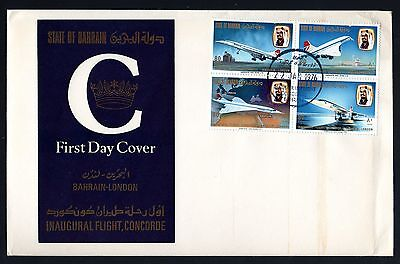 Bahrain 1976 FDC First Commercial Flight of Concorde Block of 4 - Aviation Theme