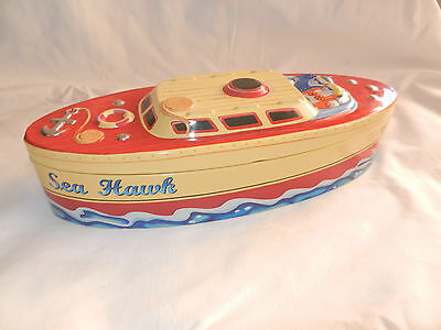 Collectable Tin Boat 3 D Sea Hawk Boat Biscuits Lollies Sweeties