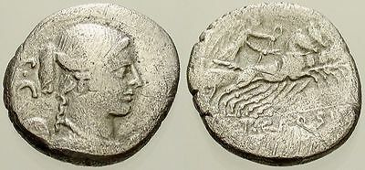 024. Roman Silver Coin. CARISIA 3. AR Denarius. Winged Bust of Victory
