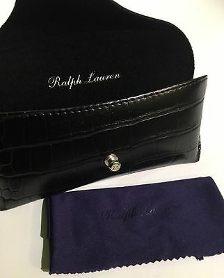 $145! NWT Ralph Lauren PURPLE LABEL Black Mock Crocodile Sunglasses Case w/ Box!
