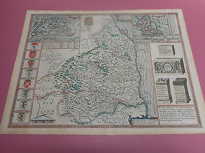 100% Original Large Northumberland Map By John Speed C1627 Vgc Hand Coloured