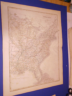 100% Original Large United States  Map By Black/hall C1844 Vgc Low Postage