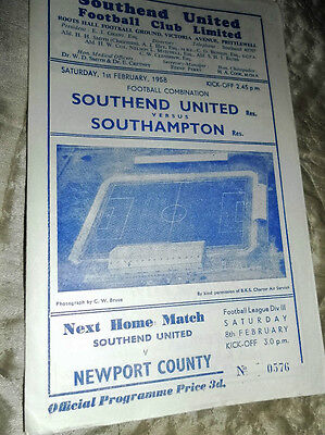 1957/8 Southend United Res V Southampton Res