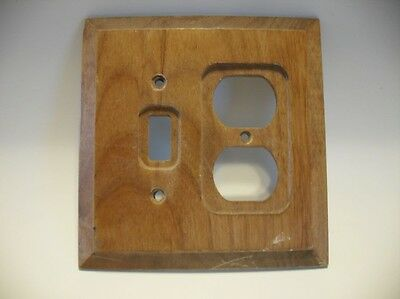 VTG BROWN WOODEN SWITCH & OUTLET Combo Wall Cover Plate Stepped Sides Amer-Tac