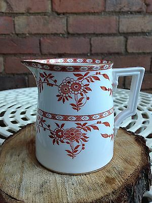 Antique Mintons Delft Red and White Porcelain Jug with Gold Gilt Rim