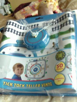 Thomas & Friend Tick Tock Teller Vinyl Clock & 50 Wall Art Stickers Vinyl Glow S