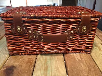 Picnic Wicker & Leather Picnic Basket Set Service for 2