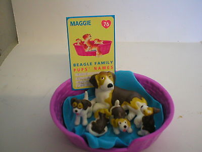 Puppy In My Pocket Vintage Meg #76 Maggie Beagle With Family & Card