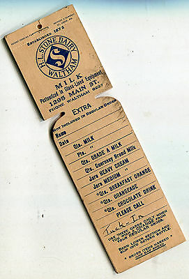 Old H.L. Stone Dairy Waltham Massachusetts Dairy Milk Tickets Book