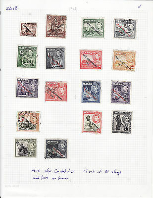 Malta - 1948 New Constitution 17 Out Of 21 Stamps On Leaves Used/mm