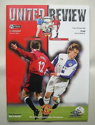United Review Manchester United v Liverpool programme 10th April 1998