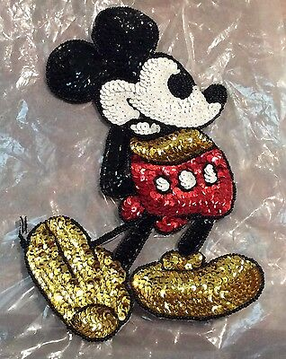 Vintage Large Sequin Mickey Mouse Sew On Applique Patch