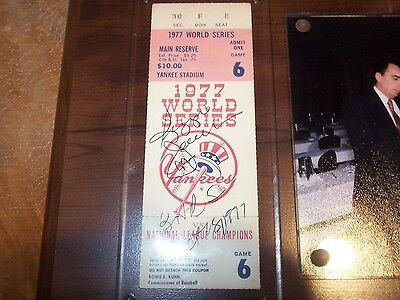 1977 Game 6 World Series Full Ticket Signed By Reggie Jackson & Dated W 3 Hr's