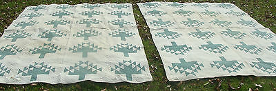 """Pair 1930s Tree of Life all hand quilted quilts, 91"""" x 60"""", as is *"""