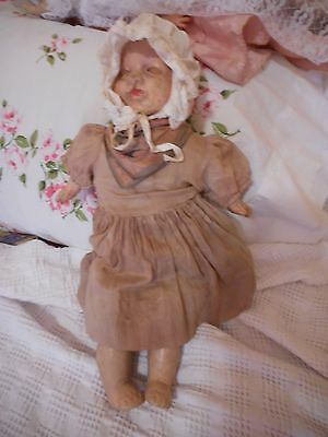 """Antique Vintage Composition Cloth Baby Doll 17"""" Tall TLC #542"""