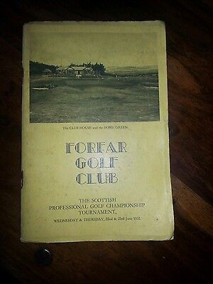 Scottish Professional Golf Championship 1932 Tournament handbook- Forfar- rare