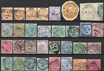 INDIA  FINE CANCELS on  Q VICTORIA STAMPS