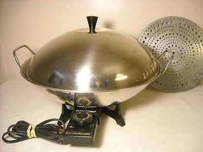 """Farberware Stainless 14"""" Electric Wok Skillet # 303 W/ Cover And Rack"""