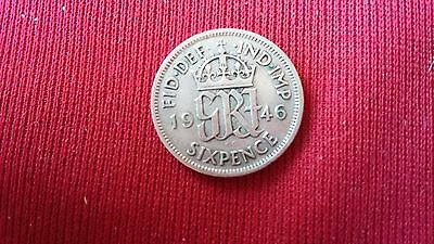 1946 George VI Silver Sixpence Coin 6 pence