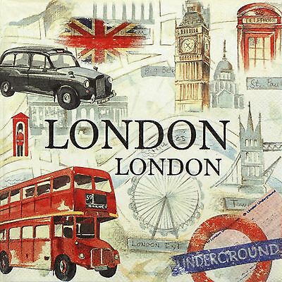 4x Paper Napkins - London Taxi Bus Flag Big Ben- for Party, Decoupage Craft