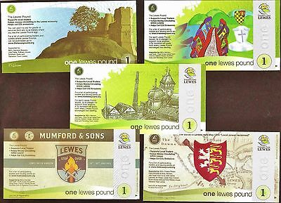 England/Lewes - Complete 5 piece set of all the £1 Banknotes from Lewes for £20.
