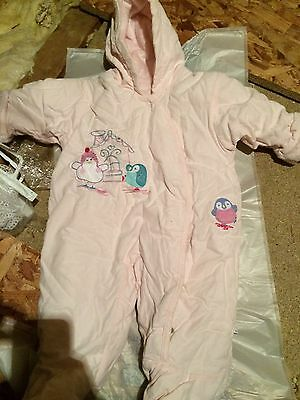 Baby Girls Winter Coat Pram Suit All In One Snow Suit Upto 3 Months M&S