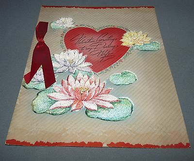 """Large Vintage Valentine Day Card """"My Darling Wife"""" Water Lily Ribbon USA"""