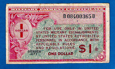 "EX RARE BLOCK ""1"" USA M12 $1 MILITARY PAYMENT CERTIFICATES 2nd Series 461 1947"