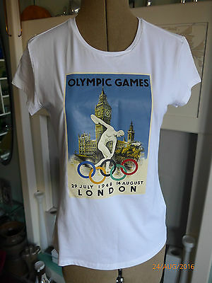 Museum Collection Olympics 1948 Commemorative White Womens T-Shirt Size 14