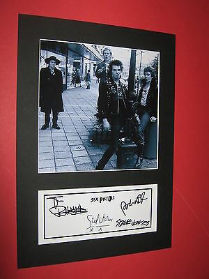Sex Pistols  A4 Photo Mount Signed Pre-Printed Ticket Sid Vicious Johnny Rotten