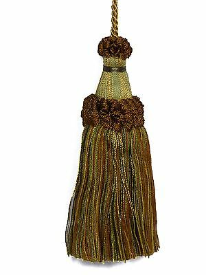 """Tassel Time AMBER BROWN Gold Touch of Greens Mix Decorative 6"""" Key Tassel PV7"""
