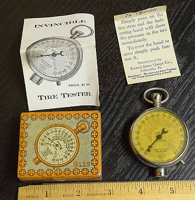 1930s INVINCIBLE TIRE TESTER GAUGE WITH INSTRUCTIONS & PERFECT TIN CASE!