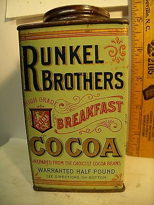 RARE1920's RUNKEL BROTHER 8oz Cocoa ADVERTISING COUNTRY STORE Tin WITH Graphics