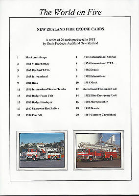 RARE NEW ZEALAND FIRE ENGINE COLLECTOR CARDS SET OF 20  from 1988