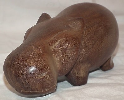Teak Carved African Wooden Hippopotamus Very Good Condition/No Problems
