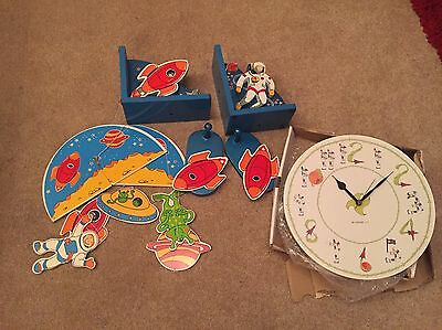 Space Planets Wooden Bookends Clock Hooks Accessories Childs Bedroom