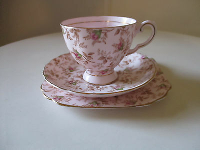 Tuscan Bone China Trio Pink Chintz Rosebuds