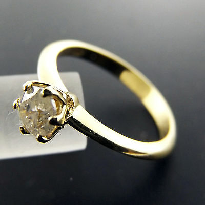 D002 Genuine Real 18K Yellow Gold Ladies Diamond Solitaire Engagement Ring