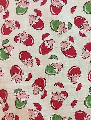 Vintage NOVELTY Feedsack Pink Chicks And Eggs Cotton Fabric 35 X 33