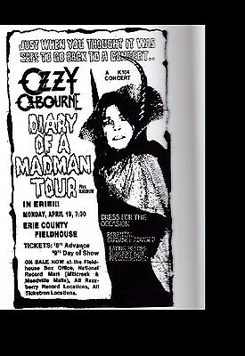 Ozzy Osbourne-  Erie County Fieldhouse 4-19-1982 Laminated Gloss Poster