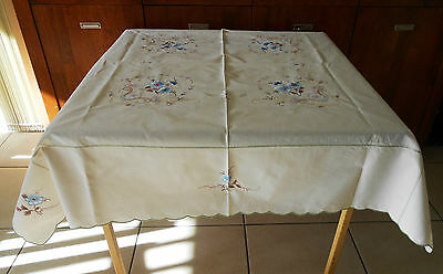 Vintage Beige Machine Embroidered Table Cloth With Blue Flowers 118Cm X 120Cm
