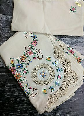 Linen embroidered Tablecloth & napkins cross stitch crocheted hand stitched NOS