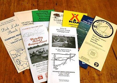 Lot of TEN Late 1980's ILLINOIS CAMPING BROCHURES