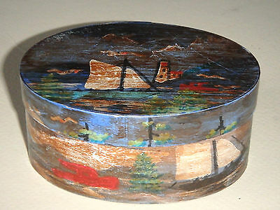 Vintage Folk Art Hand Painted Oval Box Trenton Maine Sailboats Artist Signed