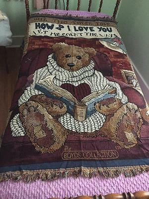 Boyds Bears How do I love You Throw Blanket NWT 1996 New with Tags