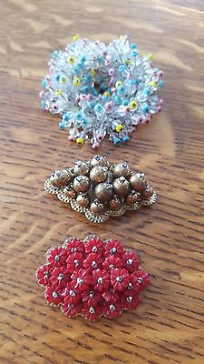 Three Miriam Haskell Attributed - Two Pins & One Dress Clip