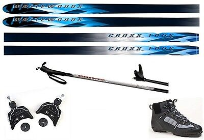 NEW CROSS TOUR XC cross country 75mm SKIS/BINDINGS/BOOTS/POLES PACKAGE - 177cm