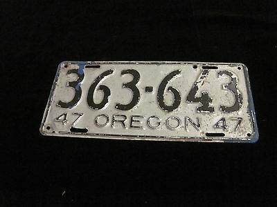 Vintage 1947 Oregon  License Plate Very Nice Condition!
