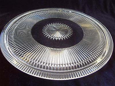 Vintage Jeannette Crystal Anniversary Clear Footed Cake Plate USA Ribbed